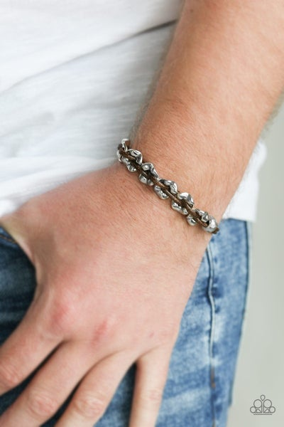 Ride The Rails - Brown Leather with Silver Beads Pull-Tight Bracelet