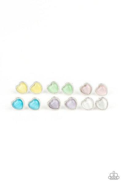 Heart-Shaped Moonstone Post Back Kids' Earrings