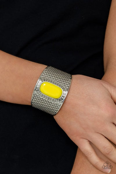 Poshly Pharaoh - Embossed Silver with faceted Yellow beaded center Cuff Bracelet