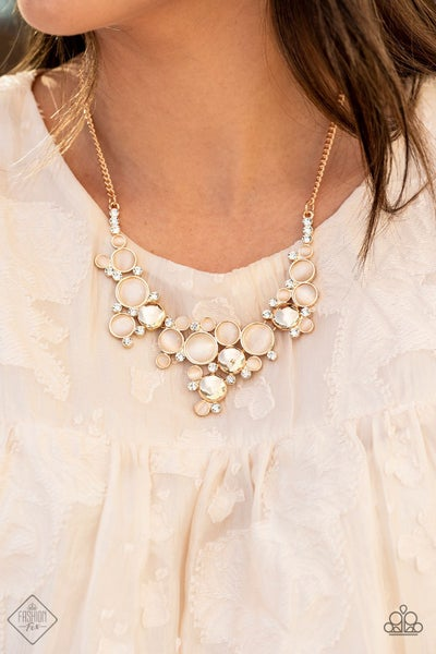 Fairytale Affair - Gold with champagne Moonstone/Cat's eye Gems & Rhinestones Necklace & Earrings