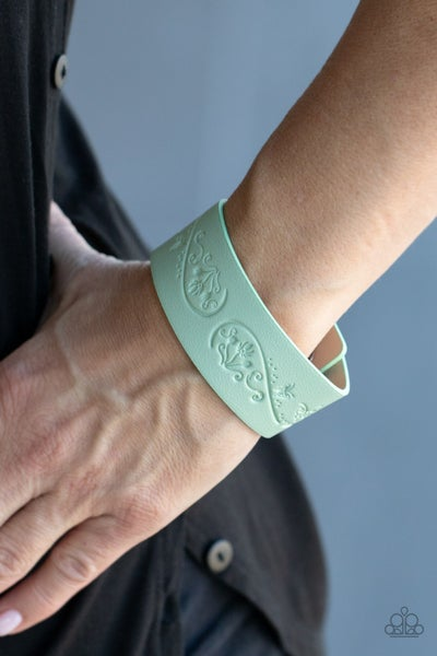 Pre-Sale Butterfly Canopy - Ash Green Leather stamped with a Floral Butterfly Snap Bracelet
