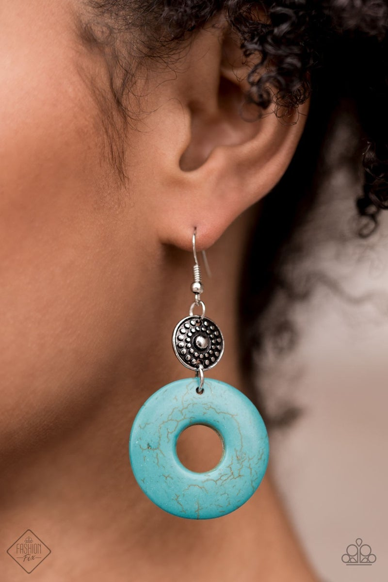 Earthy Epicenter - Silver with wheel shaped Turquoise Earrings