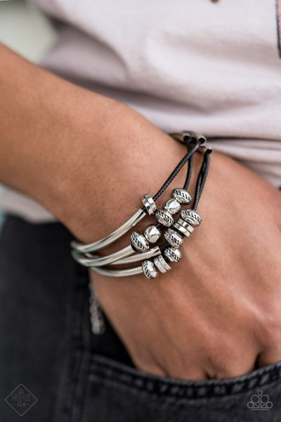 We Aim To Please - Black Leather with Silver cylinders & loops Bracelet