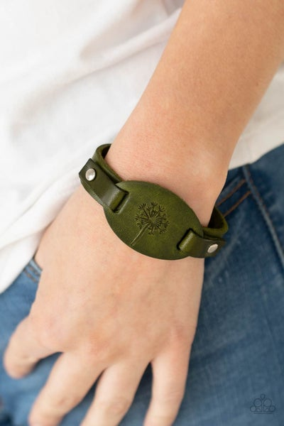 All Fine and DANDELION - Green Leather embossed with a dandelion Snap Bracelet