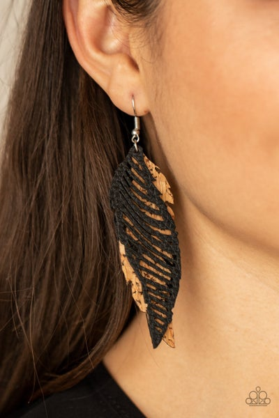 Pre-Order WINGING Off The Hook - Black Leather & Cork Feather Earrings