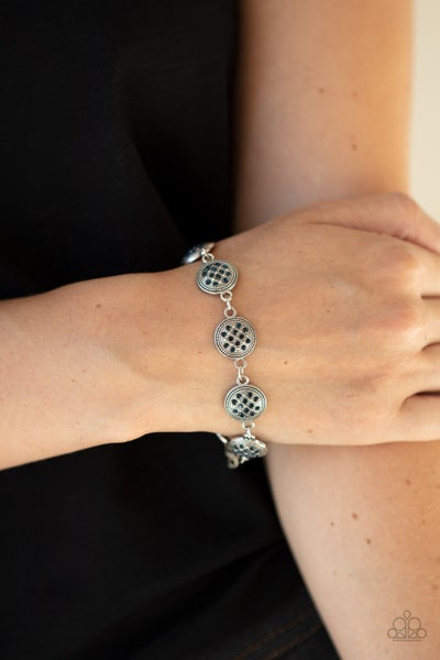 By Royal Decree - Silver with button-like frames filled with Blue Rhinestones Bracelet