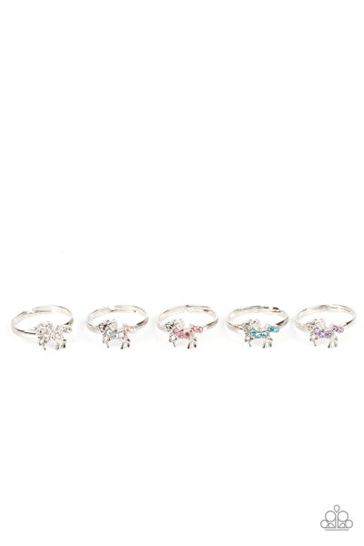 Starlet Shimmer Ring Kit Item #P4SS-MTXX-258XX Ten rings in assorted colors and shapes with a retail price of $1 each. The silver unicorn frames vary in shades of white, iridescent, pink, blue, and purple rhinestones.