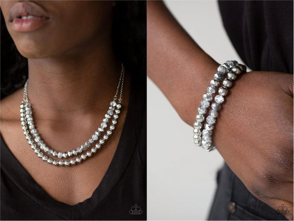 Color of the Day with Chroma Color - Silver & Hematite Bead Necklace, Earrings & Bracelet Set