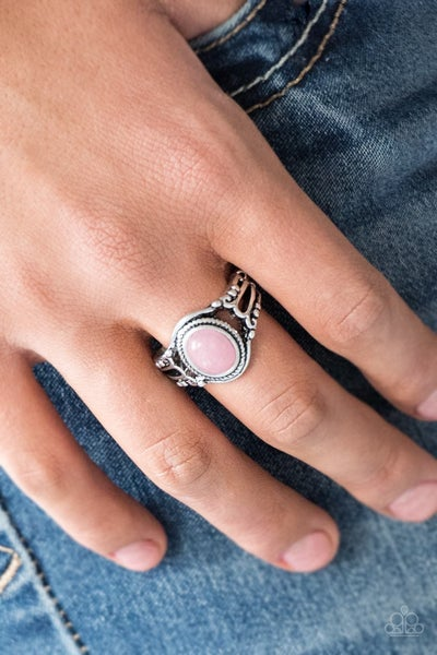 Peacefully Peaceful - Silver with dusty Pink center stone Ring