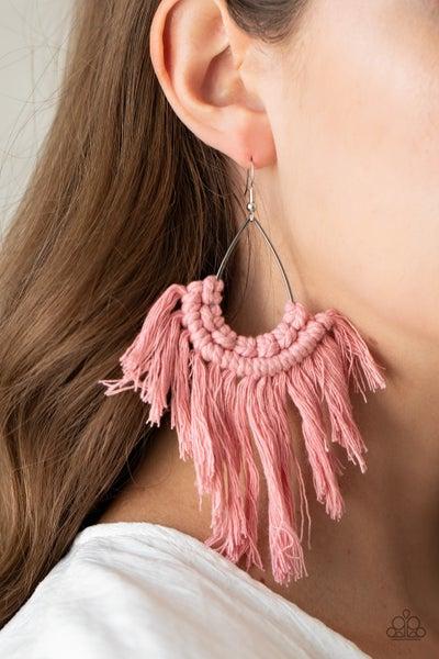 Wanna Piece Of MACRAME? - Pink Macrame Earrings