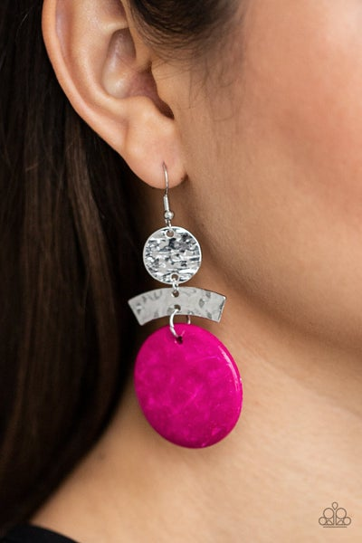 Pre-Order Diva Of My Domain - Silver with Pink Wooden Disc Earrings