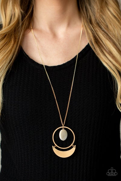 Moonlight Sailing - Gold with white shell-like disc pendant Necklace & Earrings
