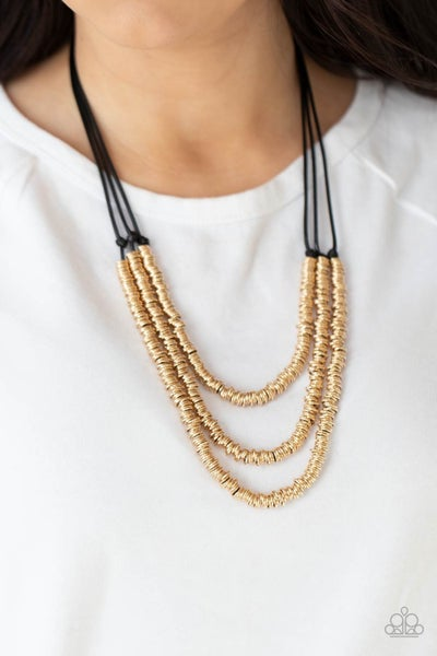 RING to Reason - Black layered cords covered in Gold Rings Necklace & Earrings