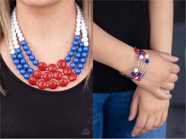 Beach Bauble - Red, White & Blue Layered Bead Necklace & Earrings