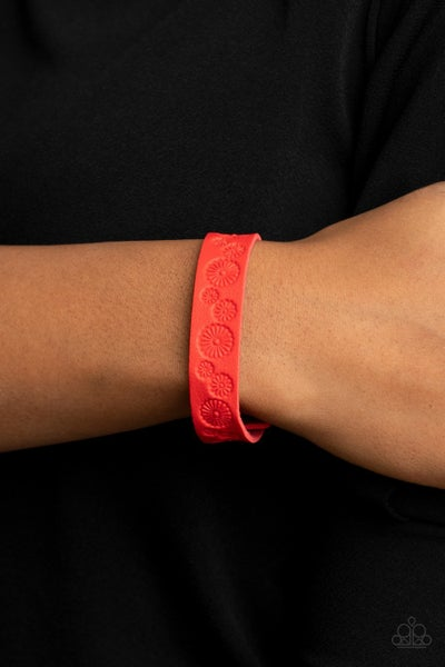 Follow The Wildflowers - Red Leather embossed with a daisy pattern Snap Bracelet