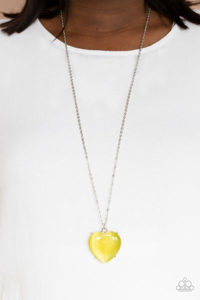 Warmhearted Glow - Yellow Heart-shaped Moonstone/Cat's Eye Necklace & Earrings