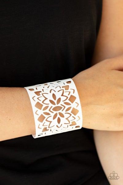 Pre-Sale Hacienda Hotspot - White Stenciled Cuff Bracelet