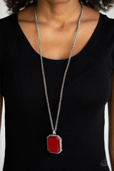 Paparazzi Let Your HEIR Down - Red Iridescent Emerald Cut Pendant on a Silver chain Necklace & Earrings