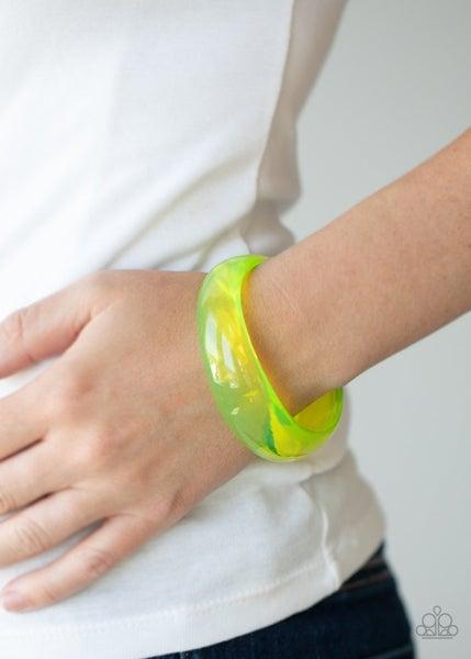 Major Material Girl - Neon Yellow Acrylic Bangle Bracelet