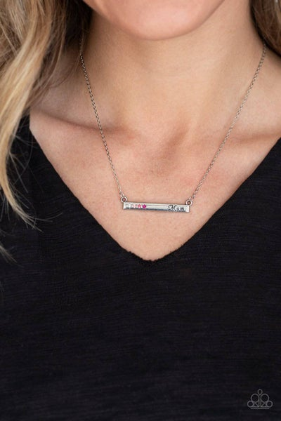 """Moms Do It Better - Silver Plate stamped """"Mom"""" with multi-pink rhinestones Necklace & Earrings"""