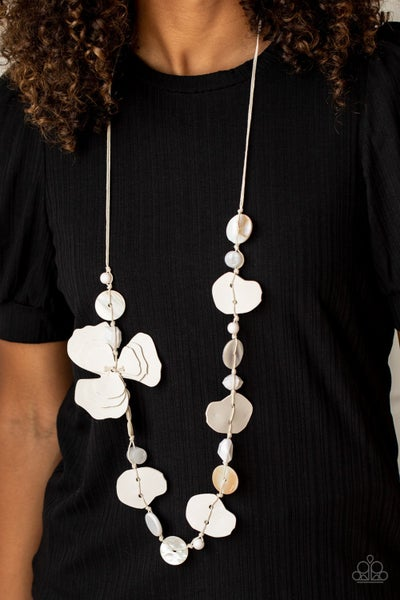 Pre-Sale - On Island Time - White, shell, acrylic & leather Necklace & Earrings