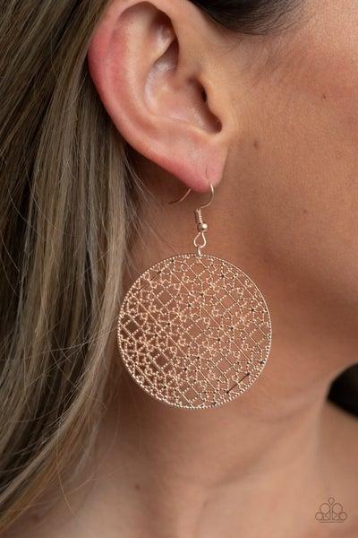 Metallic Mosaic - Rose Gold studs in Filigree Disc Earrings