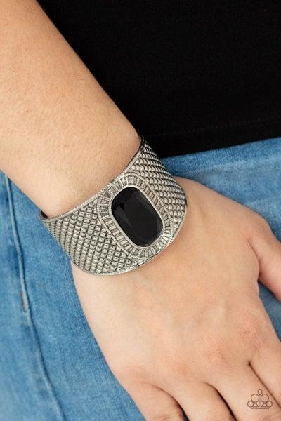 Poshly Pharaoh - Embossed Silver with Black Gem center Cuff Bracelet