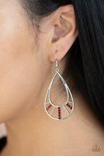 Line Crossing Sparkle - Red Earrings