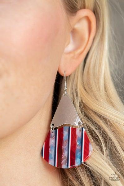 Social Animal - Red, White & Blue Acrylic Earrings