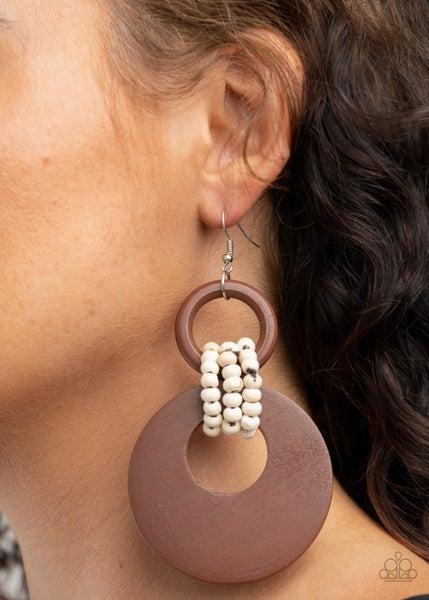 Pre-Sale - Beach Day Drama - Brown Wood Hoops with Seed Bead Loops Earrings