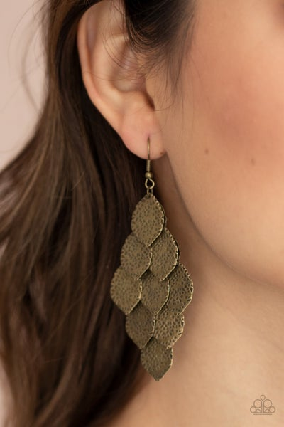 Loud and Leafy - Leafy Brass Chandelier Earrings
