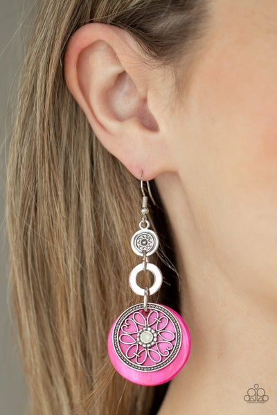 Royal Marina - Silver with Pink shell-like Disc Earrings
