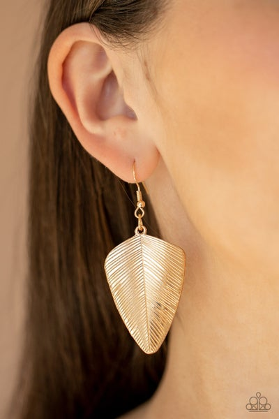 One Of The Flock - Gold Feather Earrings