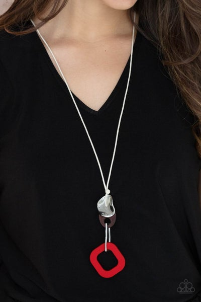 Top Of The WOOD Chain - Red wooden frame connects to a brown wooden and a silver hammered frame Necklace & Earrings