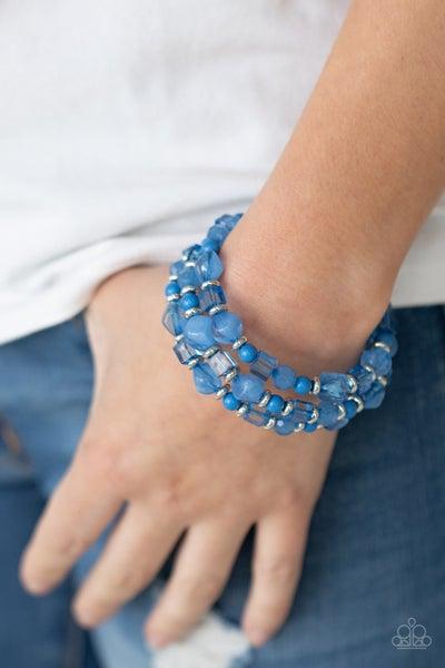 Girly Girl Glimmer - Acrylic Blue Beads Stretchy Bracelet