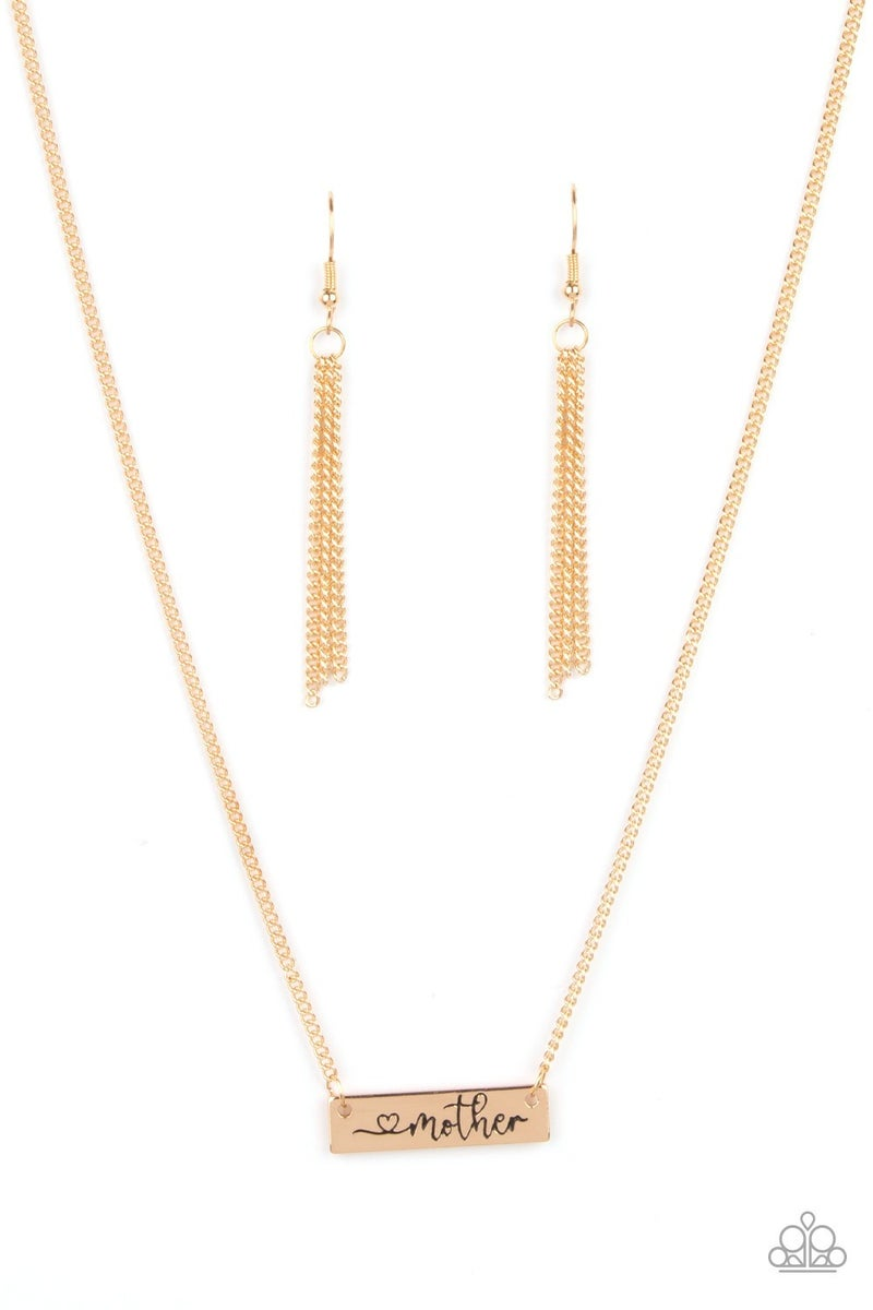 """Joy Of Motherhood - Gold plate stamped with """"Mother"""" Necklace & Earrings"""