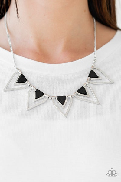 The Pack Leader - Silver triangles with Black beading Necklace & Earrings