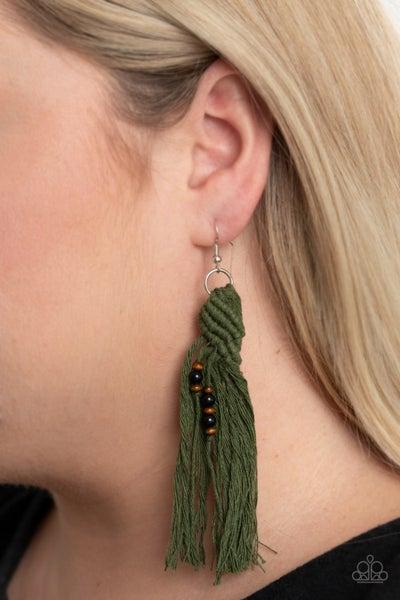 Pre-Sale Beach Bash - Green Wood, Macramé & Tassel Earrings