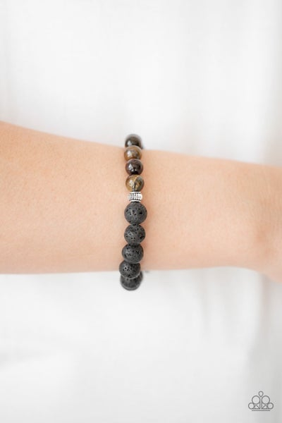 Relaxation- Brown Tiger's Eye and Black Lava Rock Bead Bracelet