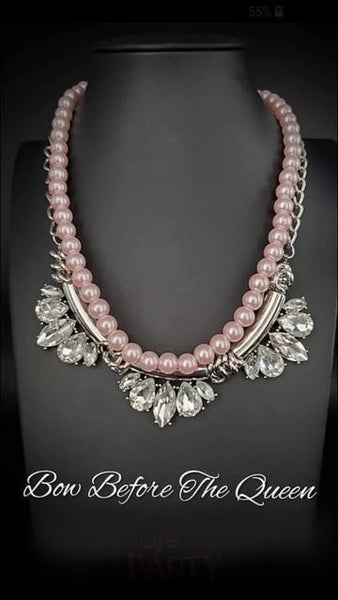 Bow Before The Queen - Pink Pearls Rhinestone Necklace - Life of the Party Exclusive July 2019
