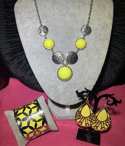 Bohemian Bombshell, Loud with Proud & Garden Fiesta - Silver with Yellow 3 Piece Set