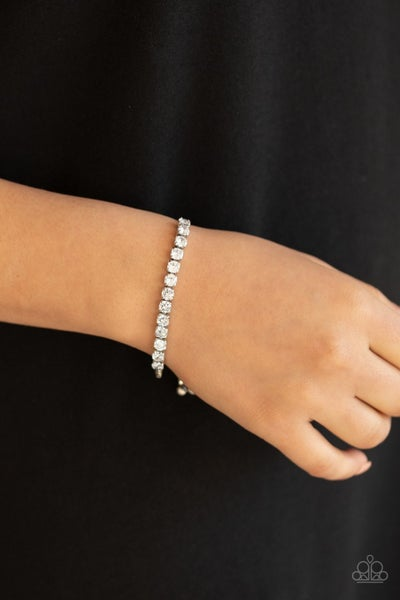 Red Carpet Rival - Silver with White Rhinestone adjustable bead closure Bracelet