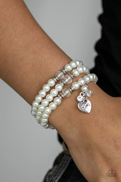 """Mom Wow - Three Strands of White Pearls with White Crystals & a Heart charm stamped """"Mom"""" Stretch Bracelet"""