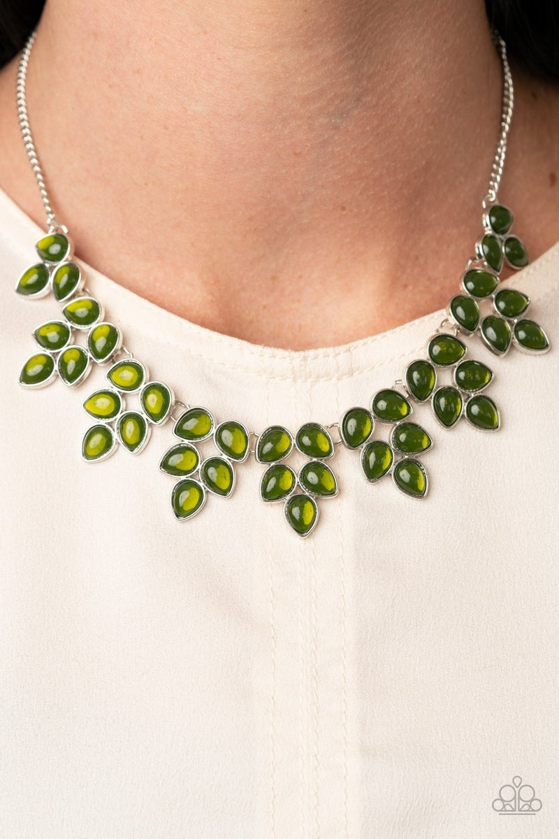 Pre-Sale Hidden Eden - Silver with Green Teardrop Moonstones Necklace & Earrings