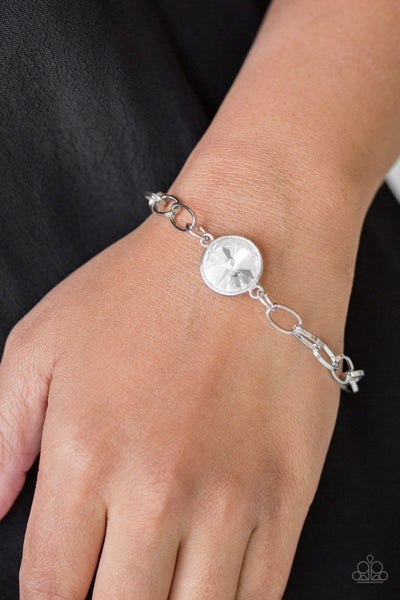 All Aglitter - Silver with large White Rhinestone center on Toggle Lock Bracelet