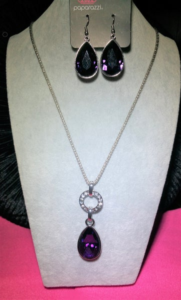 Lookin' A Million & Limo Ride - Silver with Purple Teardrop Necklace & Earring SET