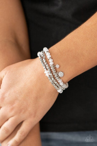 Pre-Order Glacial Glimmer - Silver with White Moonstones Coil Bracelet