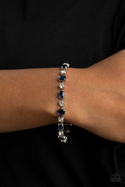 Pre-Order Out In Full FIERCE - Blue emerald-cut Rhinestones with White Rhinestones Clasp Bracelet