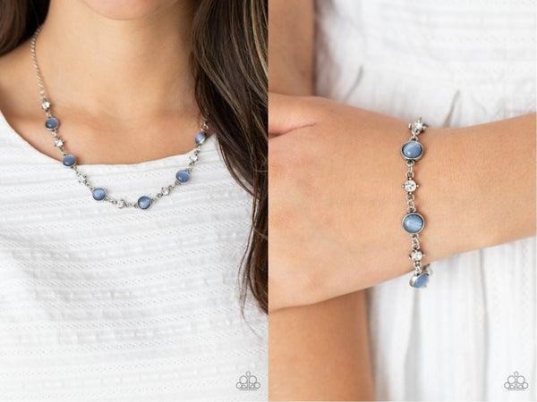 Pre-Order Inner Illumination & Use Your Illumination Blue Moonstone & White Rhinestone Necklace, Earrings & Bracelet Set