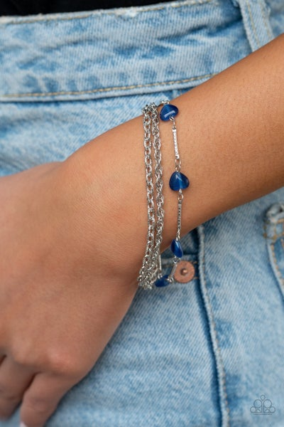Pre-Sale - To Love and Adore - Silver chains with Heart-Shaped Blue Moonstones Bracelet